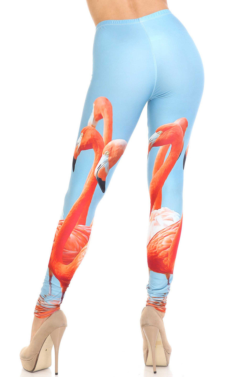Rear view of Creamy Soft Flamingo Plus Size Leggings - USA Fashion™