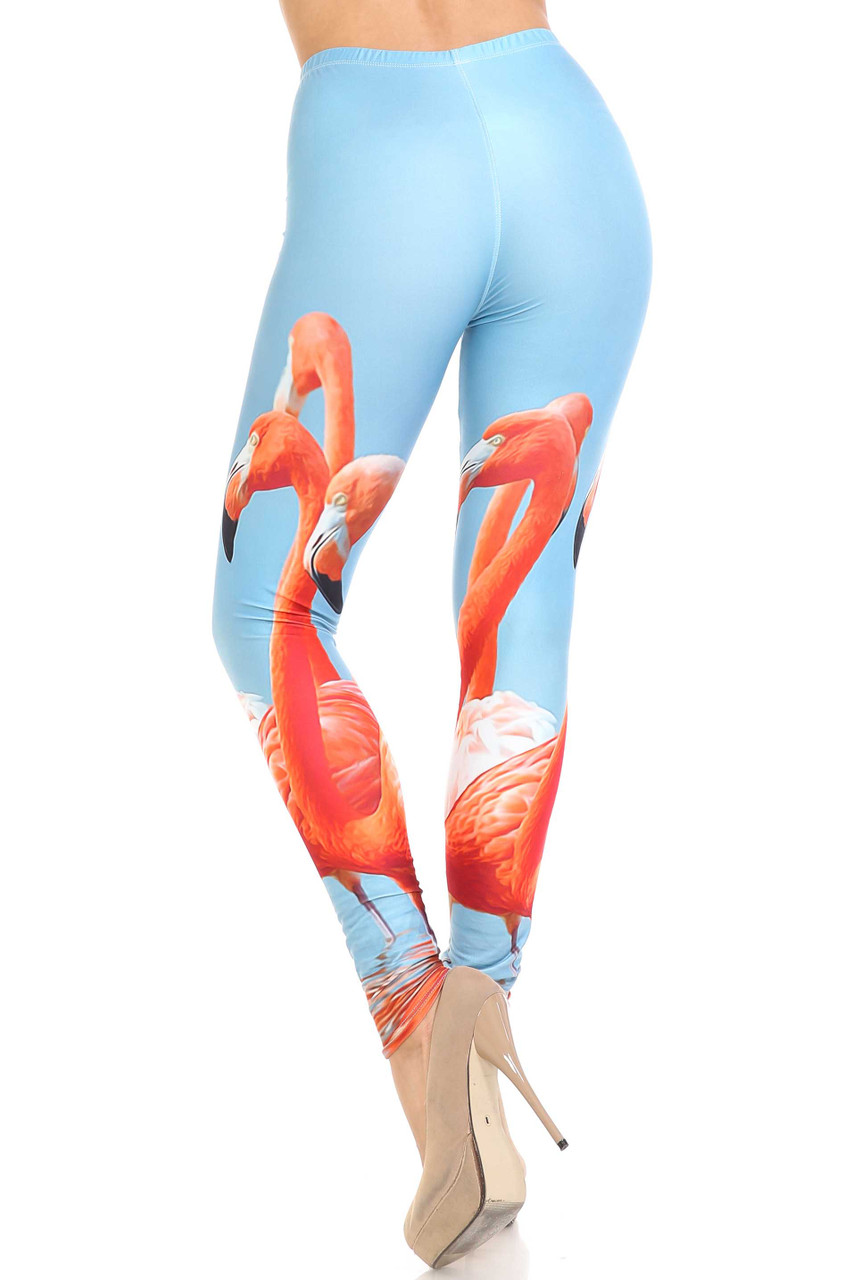 Back view of Creamy Soft Flamingo Plus Size Leggings - USA Fashion™