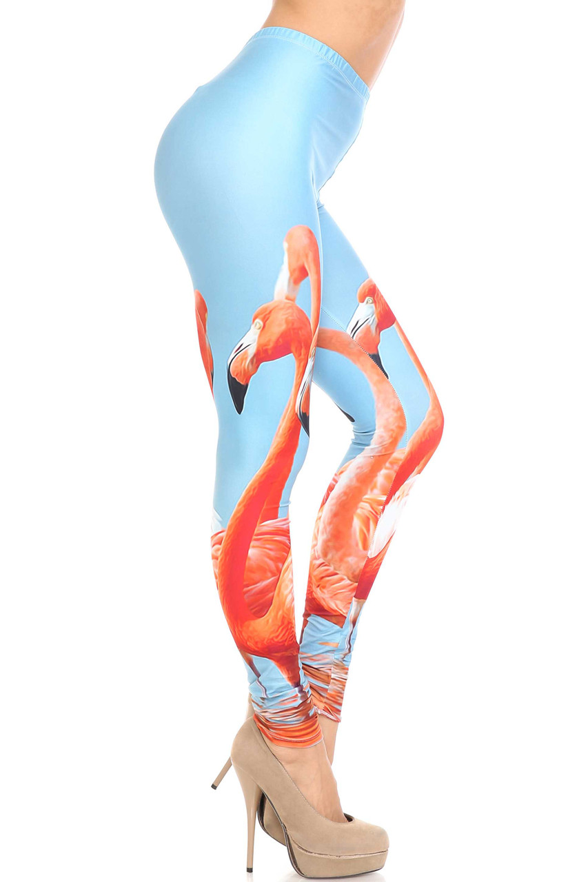 Right side of Creamy Soft Flamingo Extra Plus Size Leggings - 3X-5X - USA Fashion™