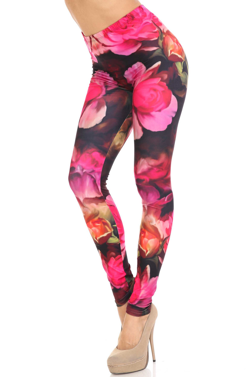 45 degree view of Creamy Soft Vintage Rose Leggings - USA Fashion™ featuring an all over gorgeous bright pink rose design.