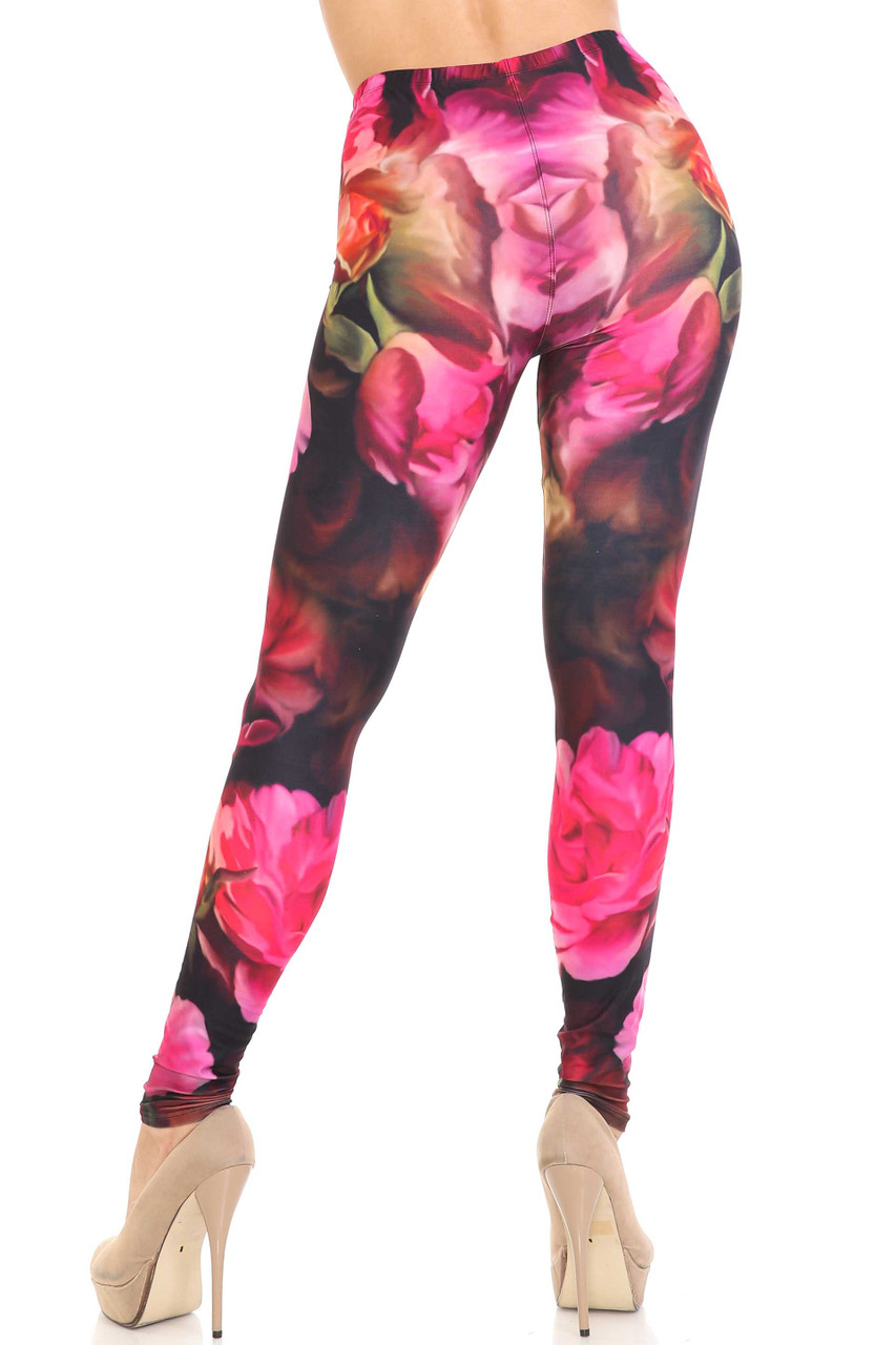 Rear view of Creamy Soft Vintage Rose Plus Size Leggings - 3X-5X - USA Fashion™ showing off a figure flattering fit.