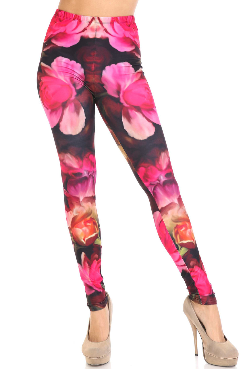 Front view of full length mid rise Creamy Soft Vintage Rose Plus Size Leggings - USA Fashion™ with an elastic waistband.