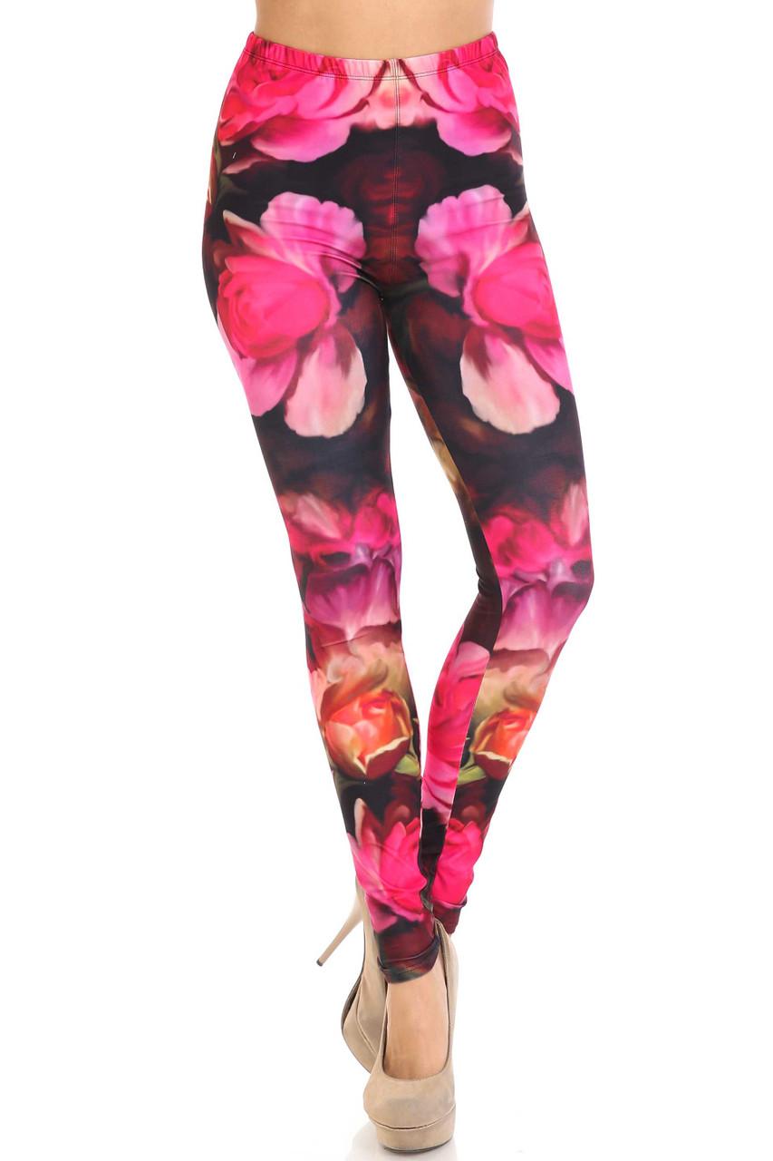 Front of Creamy Soft Vintage Rose Plus Size Leggings - USA Fashion™