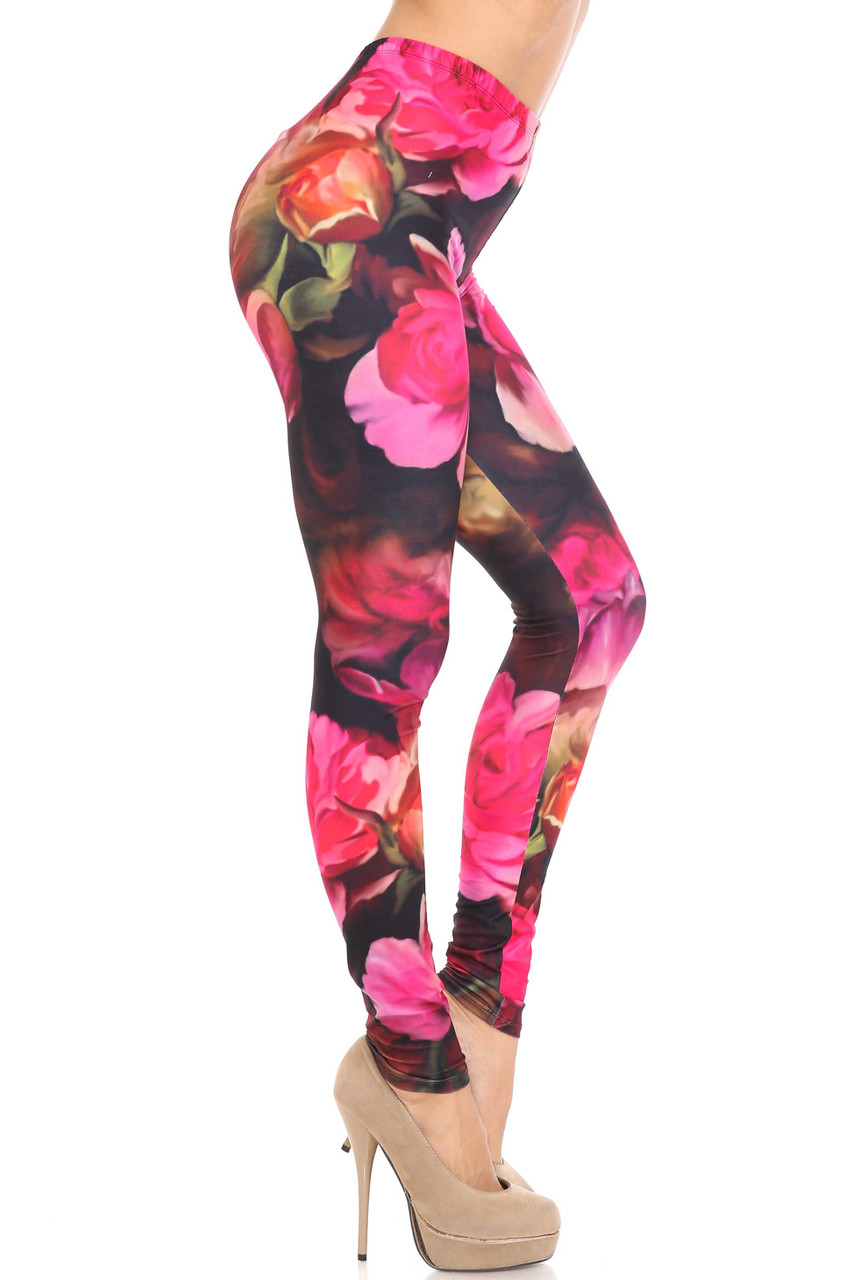 Right side view of Creamy Soft Vintage Rose Extra Plus Size Leggings - 3X-5X - USA Fashion™