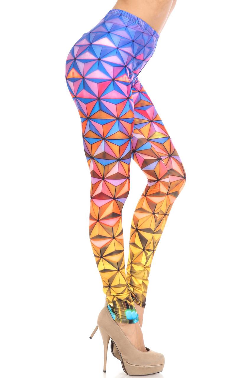 Right side of Creamy Soft Ombre Epcot Leggings - USA Fashion™
