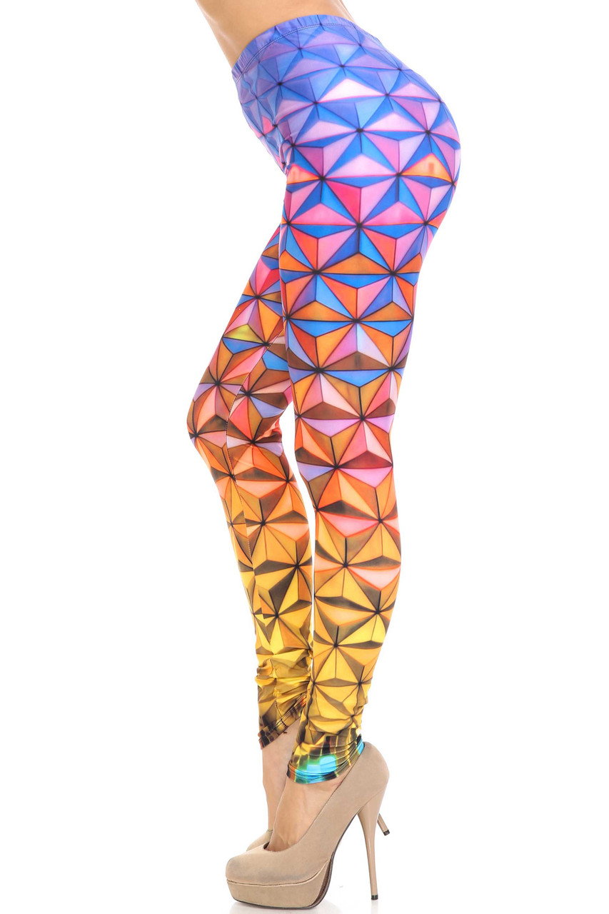 Left side of Creamy Soft Ombre Epcot Leggings - USA Fashion™