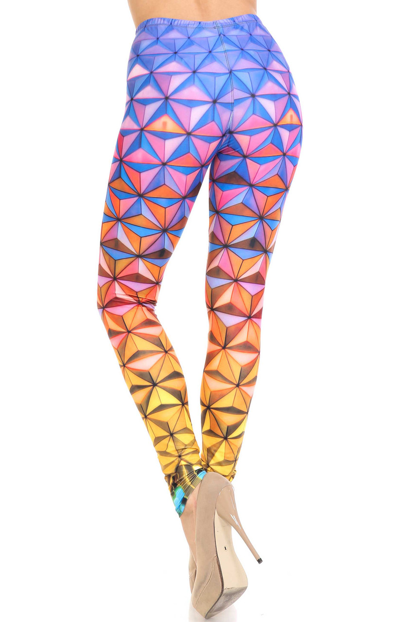 Rear view of full length Creamy Soft Ombre Epcot Leggings - USA Fashion™