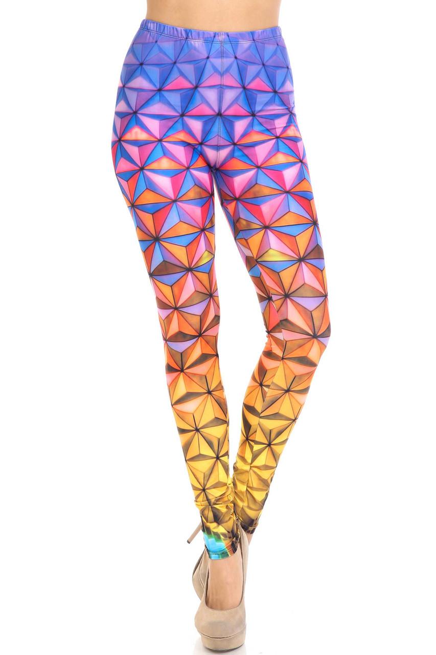 Front of Creamy Soft Ombre Epcot Plus Size Leggings - USA Fashion™
