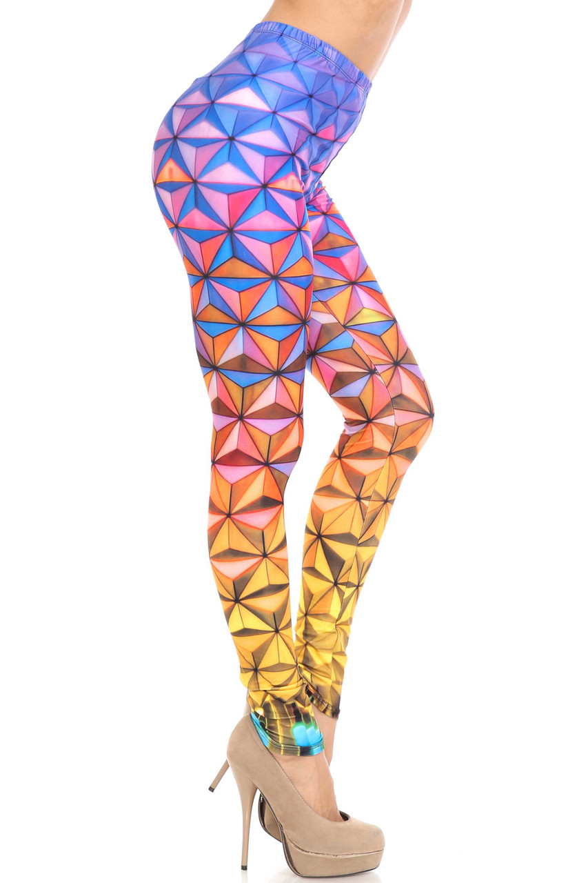 Right side of Creamy Soft Ombre Epcot Extra Plus Size Leggings - 3X-5X - USA Fashion™