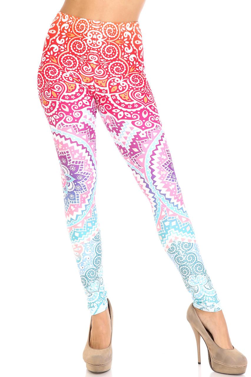 Front view of Creamy Soft Ombre Mandala Aztec Leggings - USA Fashion™