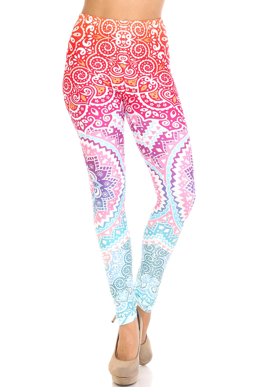 Front view of mid rise Creamy Soft Ombre Mandala Aztec Leggings - USA Fashion™ with an elastic waist.