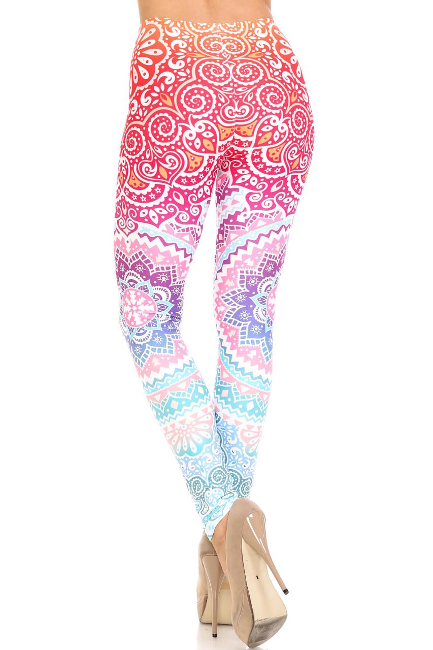 Rear view of Creamy Soft Ombre Mandala Aztec Plus Size Leggings - USA Fashion™