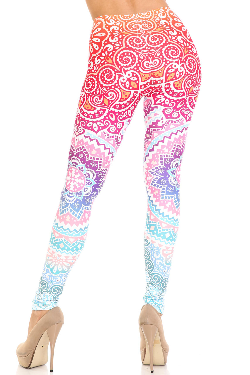 Rear view of Creamy Soft Ombre Mandala Aztec Extra Plus Size Leggings - 3X-5X - USA Fashion™