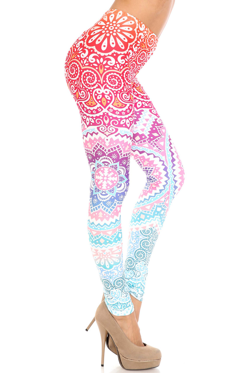 Right side of Creamy Soft Ombre Mandala Aztec Extra Plus Size Leggings - 3X-5X - USA Fashion™