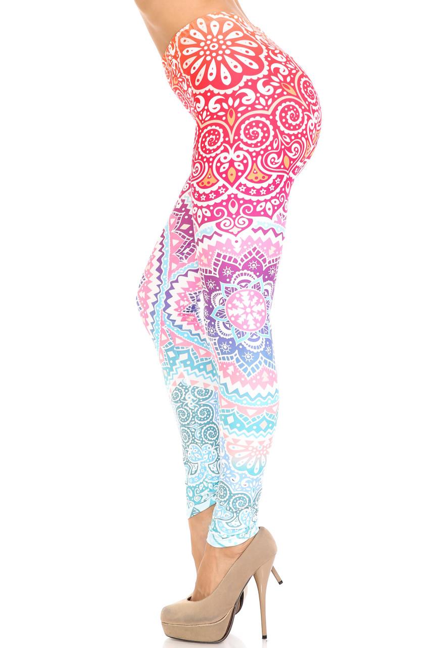 Left side of Creamy Soft Ombre Mandala Aztec Extra Plus Size Leggings - 3X-5X - USA Fashion™