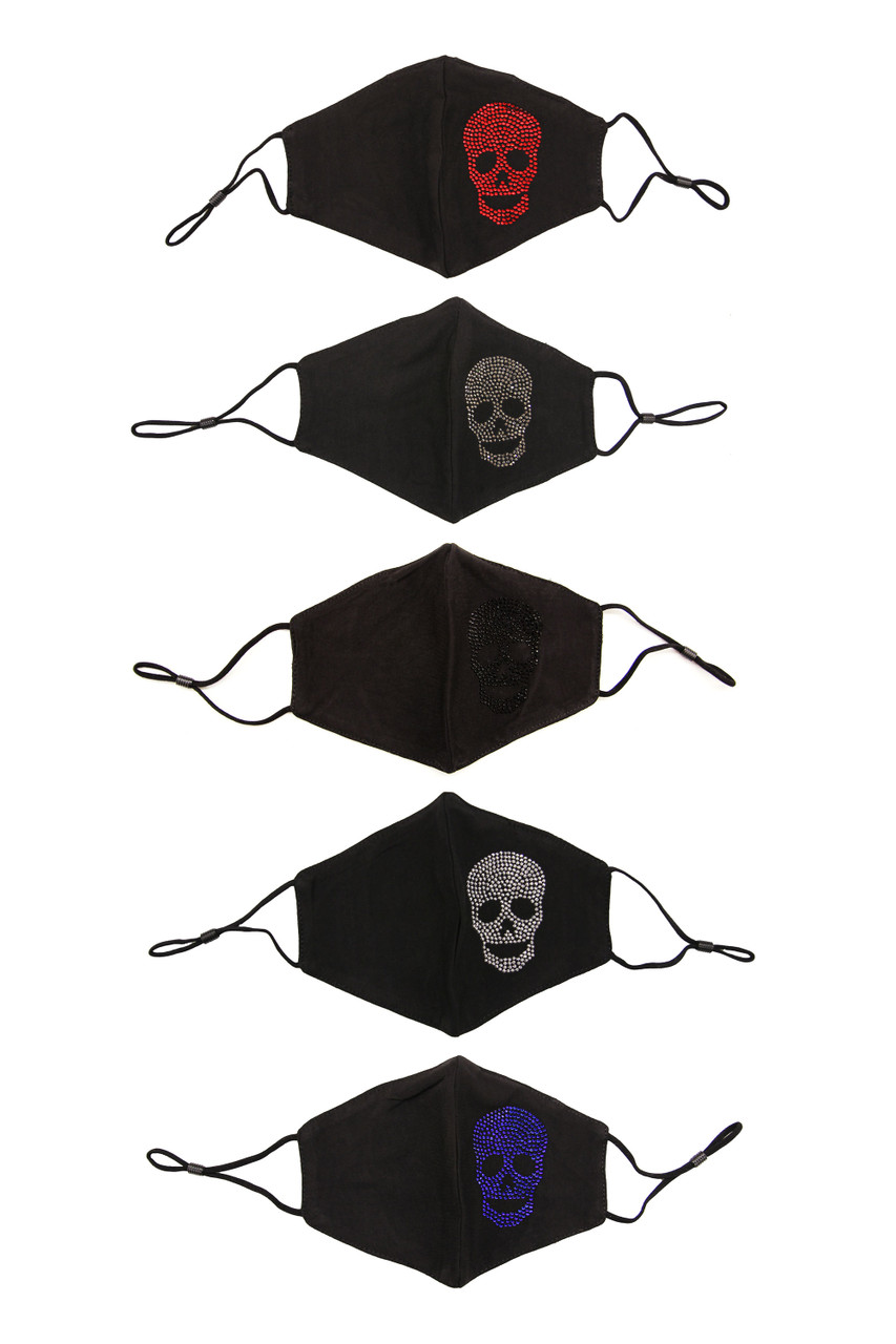 Image of Rhinestone Cotton Skull Face Mask showing all five color options.