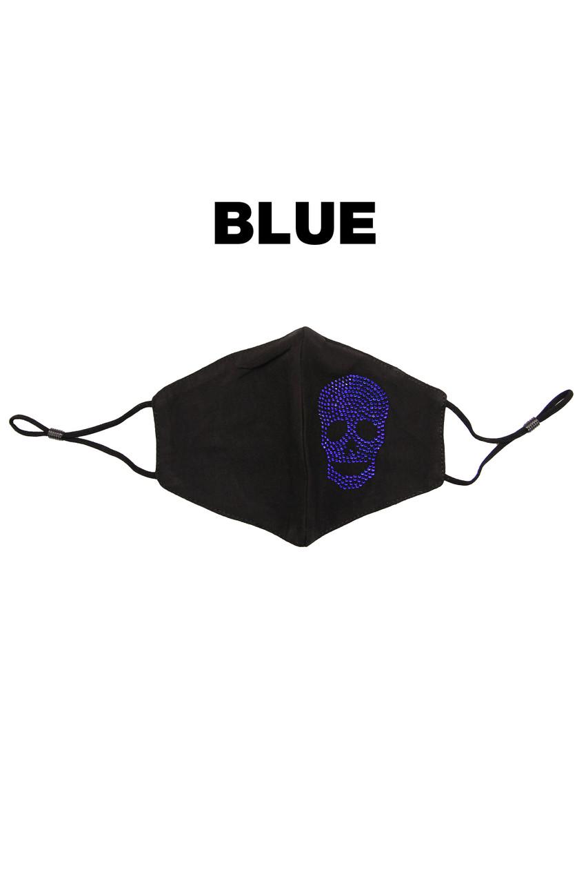 Stand alone image of Blue Rhinestone Cotton Skull Face Mask
