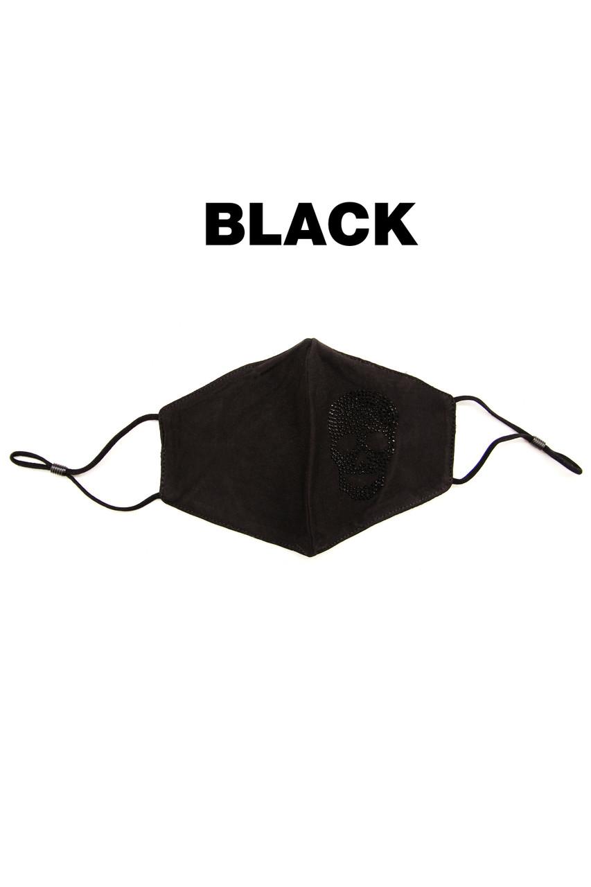 Stand alone image of Black Rhinestone Cotton Skull Face Mask