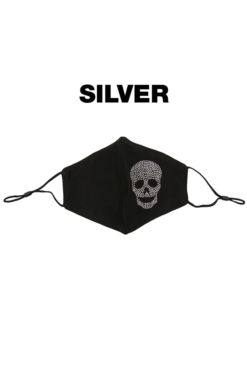Stand alone image of Silver Rhinestone Cotton Skull Face Mask