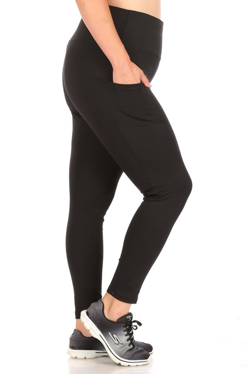 Right side of Black Solid High Waisted Plus Size Sports Leggings with Side Pockets