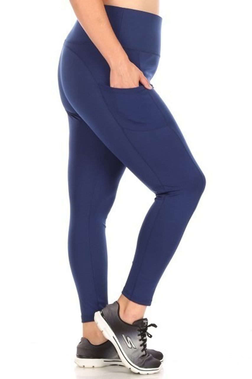 Right side of Navy Solid High Waisted Plus Size Sports Leggings with Side Pockets