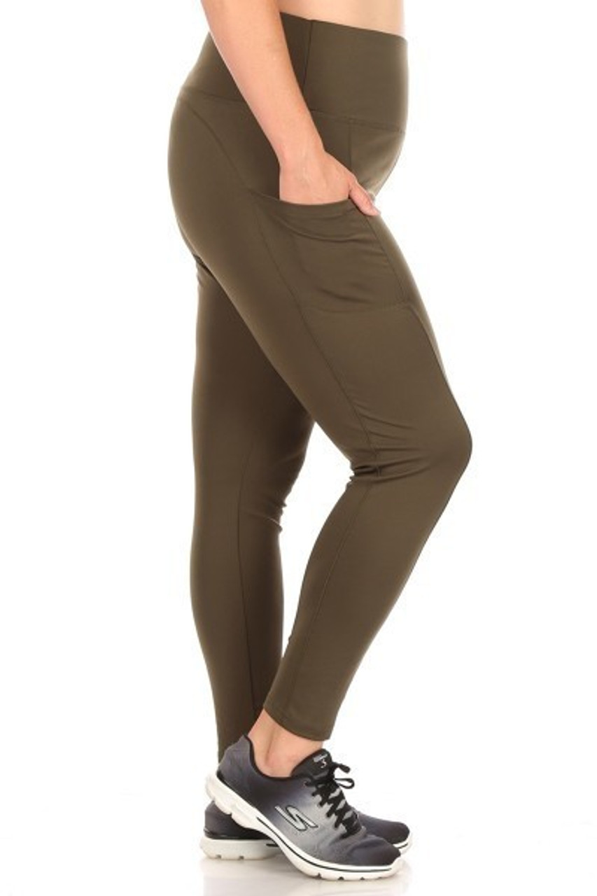 Right side of Olive Solid High Waisted Plus Size Sports Leggings with Side Pockets