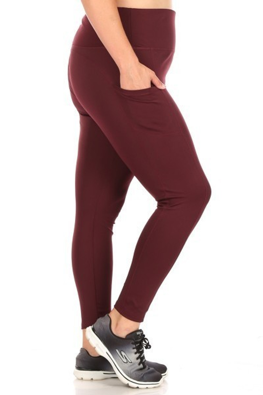 Right side of Burgundy Solid High Waisted Plus Size Sports Leggings with Side Pockets