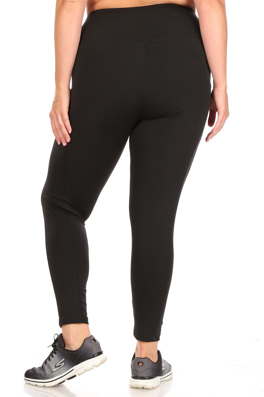 Back side of Black Solid High Waisted Plus Size Sports Leggings with Side Pockets
