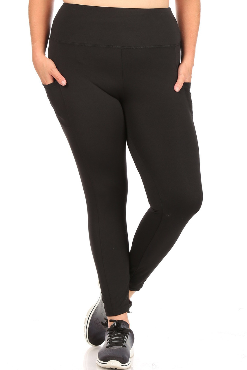 Front side of Black Solid High Waisted Plus Size Sports Leggings with Side Pockets