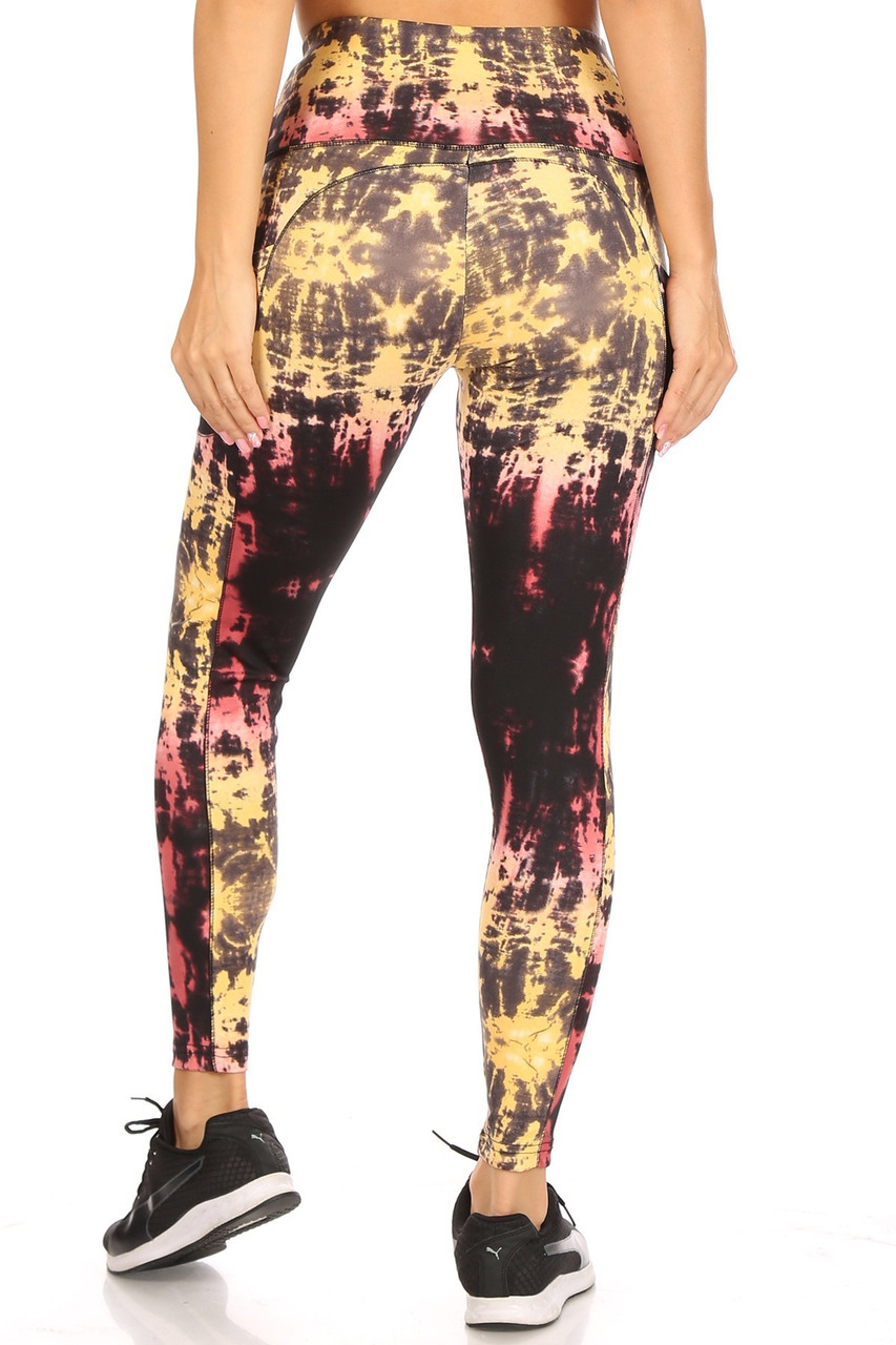 Back view of High Waisted Sunshine Tie Dye Sports Leggings with Side Pockets
