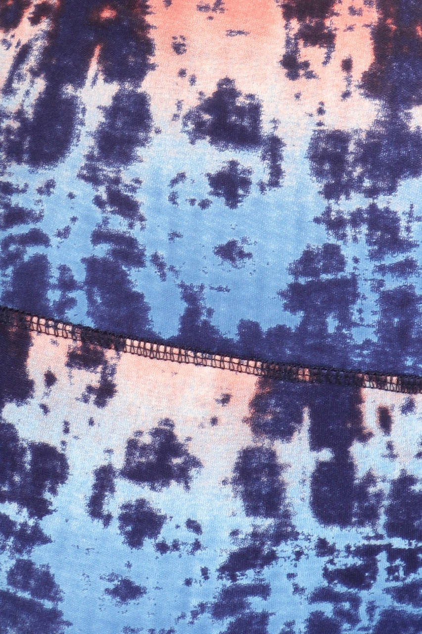 Close up fabric swatch of High Waisted Blue Tie Dye Sports Leggings with Side Pockets