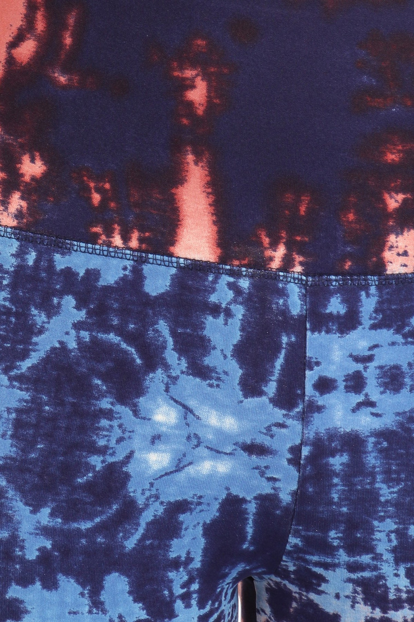 Close up fabric swatch of High Waisted Blue Tie Dye Sports Leggings with Side Pockets - 2 Piece Set