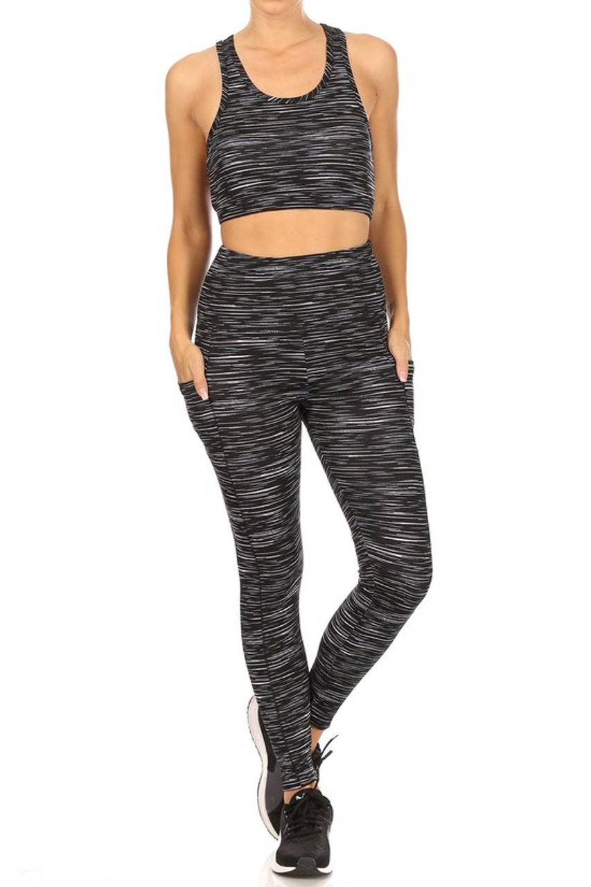 Front view of High Waisted Peppered Sports Leggings and Crop - 2 Piece Set