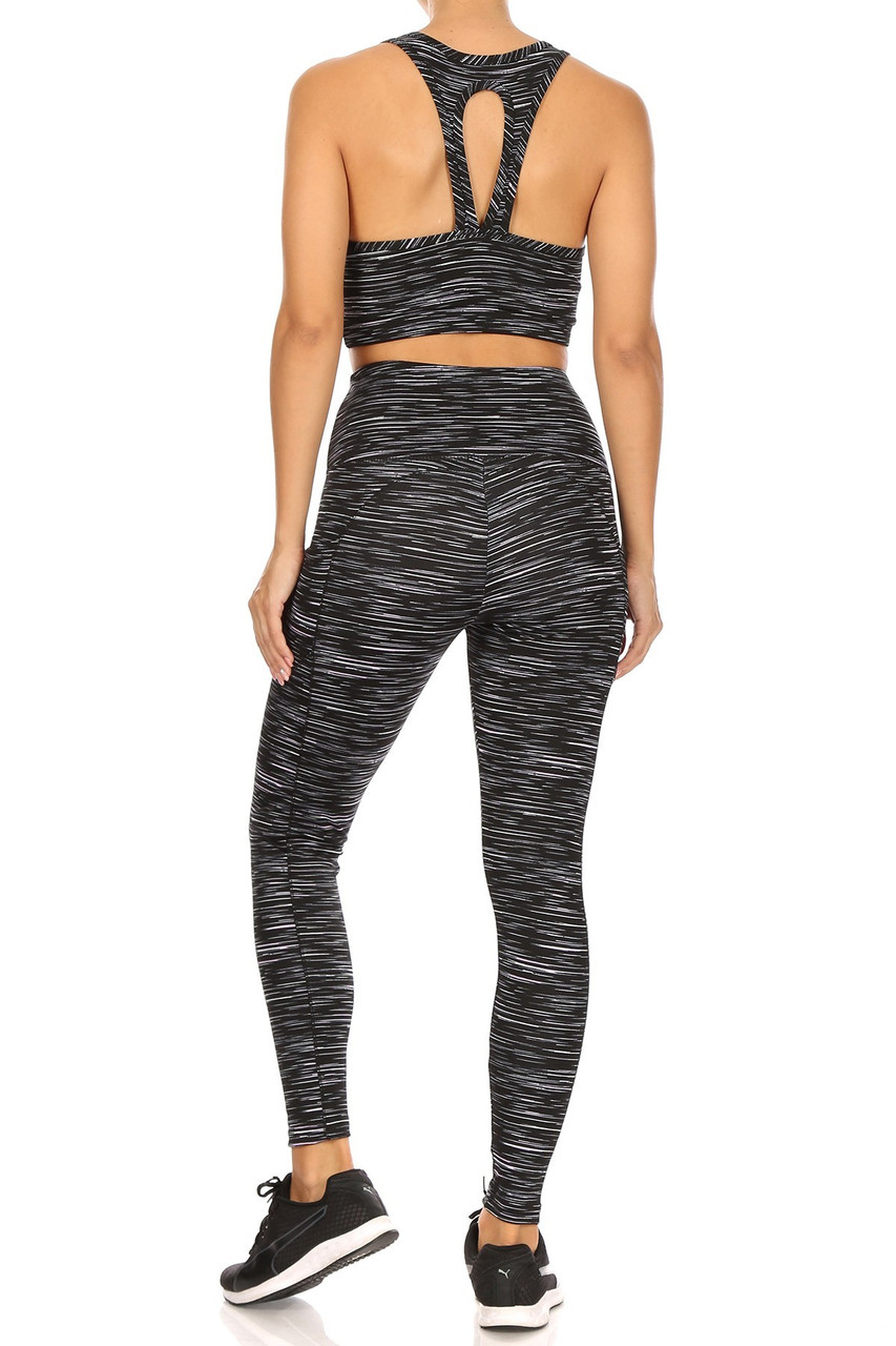 Rear view of High Waisted Peppered Sports Leggings and Crop - 2 Piece Set