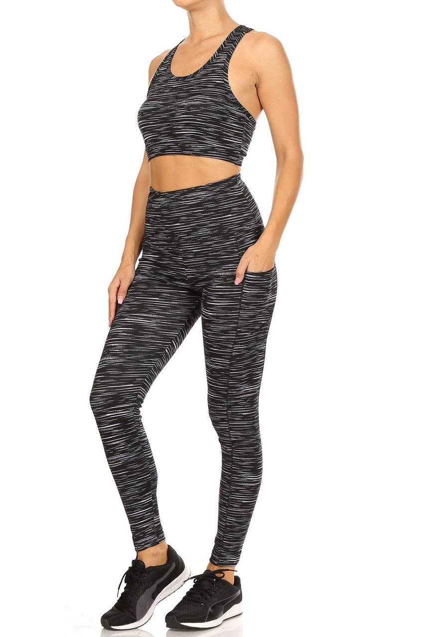 45 degree view of High Waisted Peppered Sports Leggings and Crop - 2 Piece Set