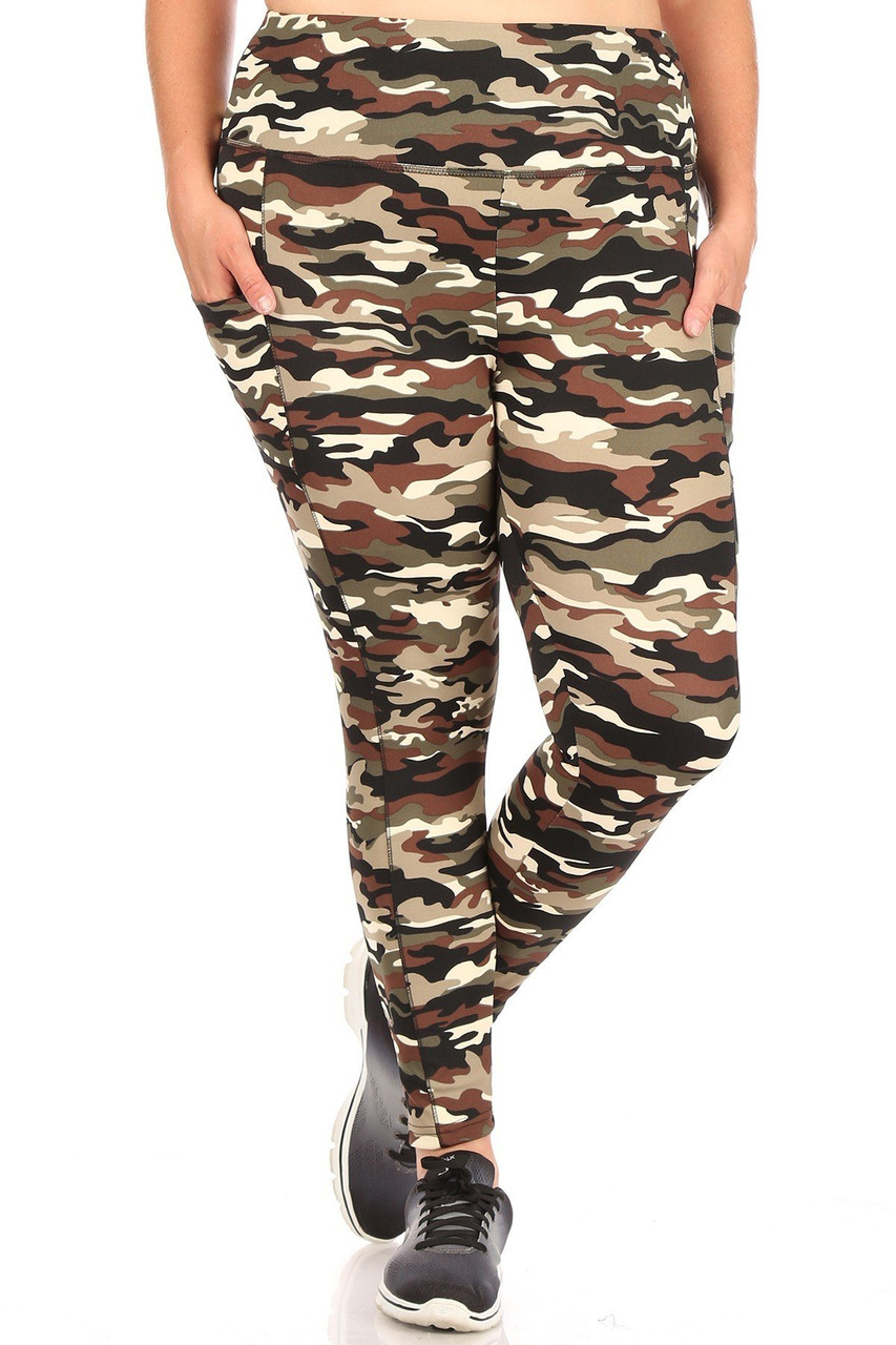 Front view of Camouflage Sport Plus Size Leggings with Side Pocket with a classic olive and brown army print design.