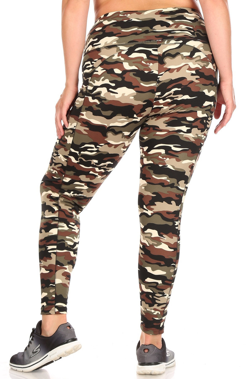 Rear view of fitted Camouflage Sport Plus Size Leggings with Side Pocket showing the continued all over camo print.