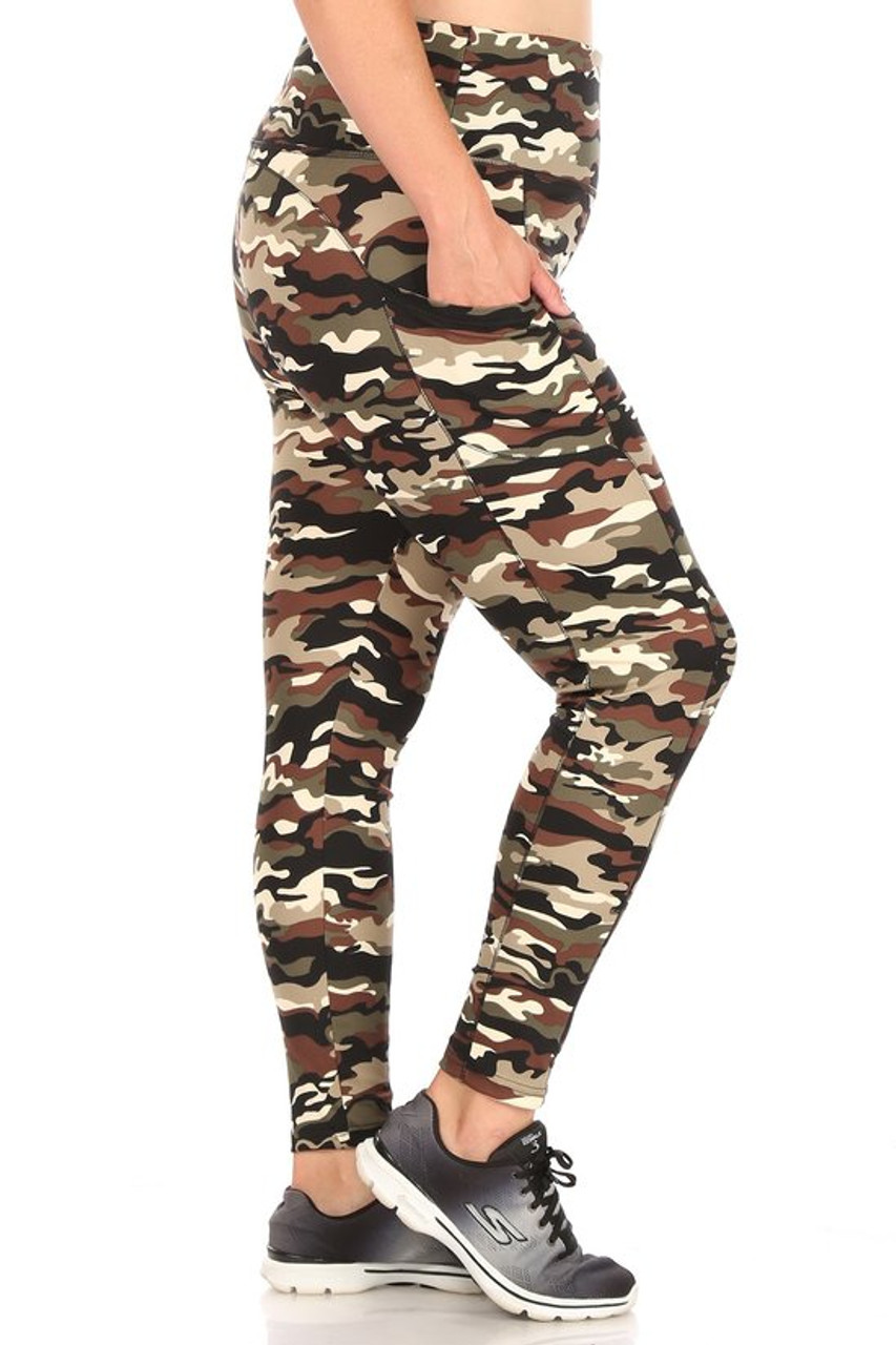 Right side of Camouflage Sport Plus Size Leggings with Side Pocket
