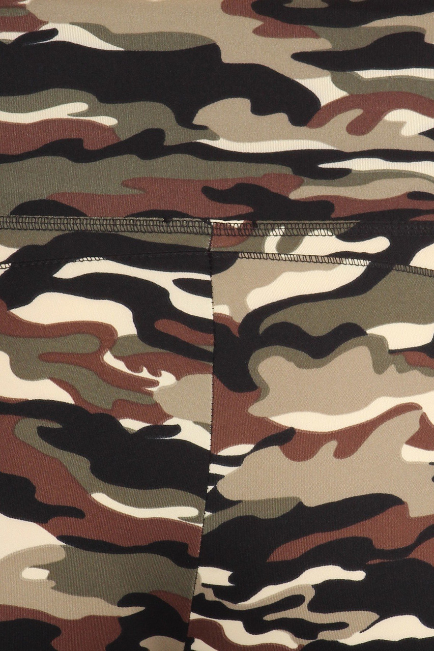 Close up fabric swatch of Camouflage Sport Plus Size Leggings with Side Pocket