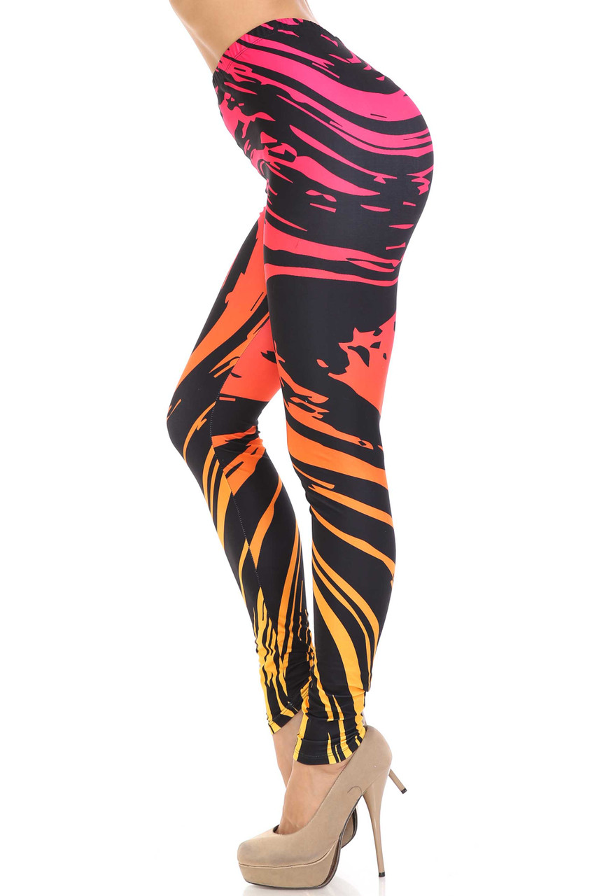 Left side view of Creamy Soft Ombre Swirling Paint Stroke Leggings - USA Fashion™