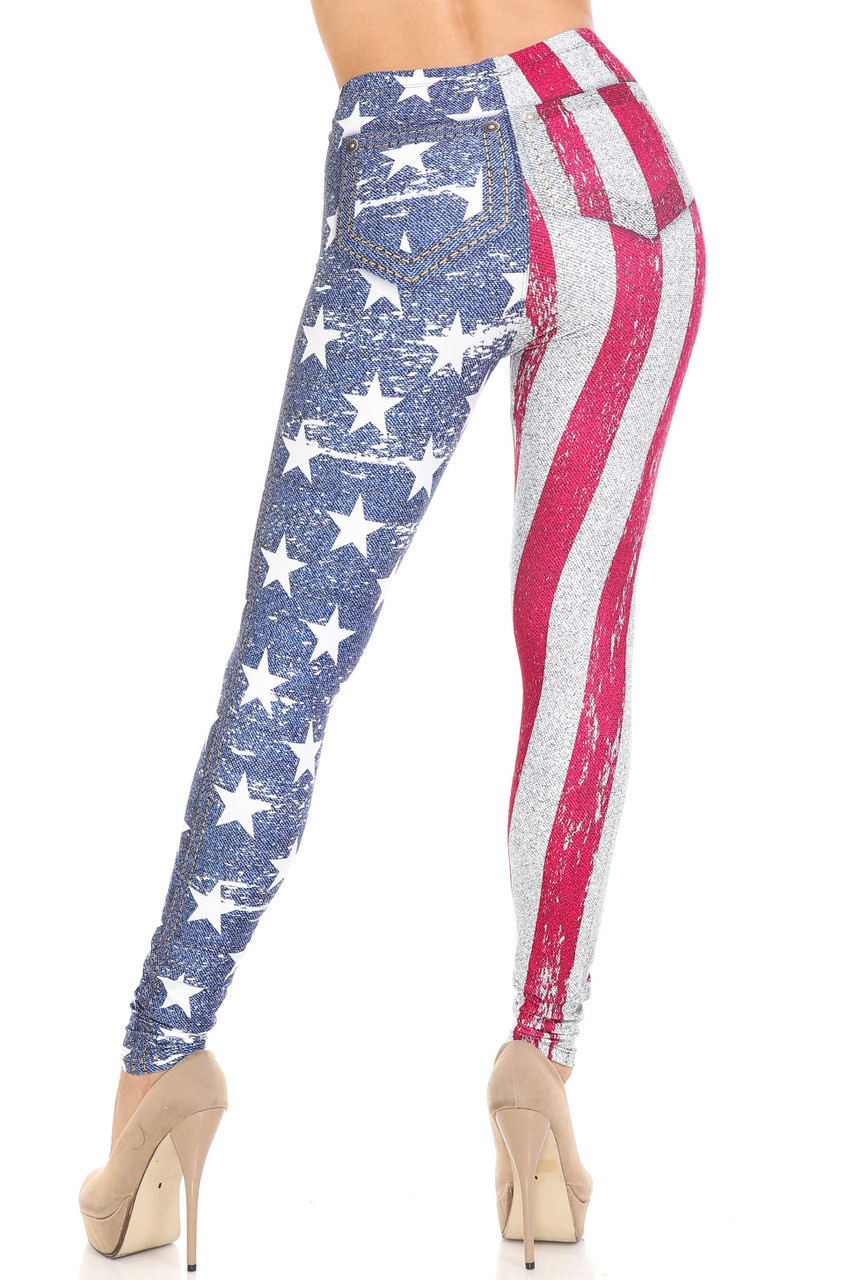 Front view of Creamy Soft USA Flag Denim Jeans Plus Size Leggings - USA Fashion™ with an elastic banded waist that comes up to about mid rise.