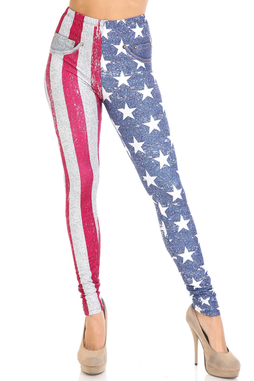 Front view of full length Creamy Soft USA Flag Denim Jeans Plus Size Leggings - USA Fashion™