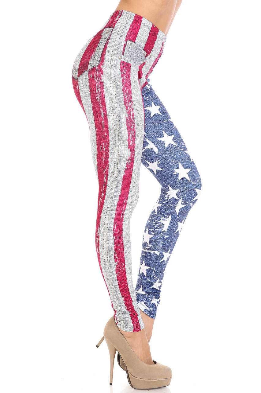 Right side view of Creamy Soft USA Flag Denim Jeans Extra Plus Size Leggings - USA Fashion™ showing off the red and white stars stripes design.
