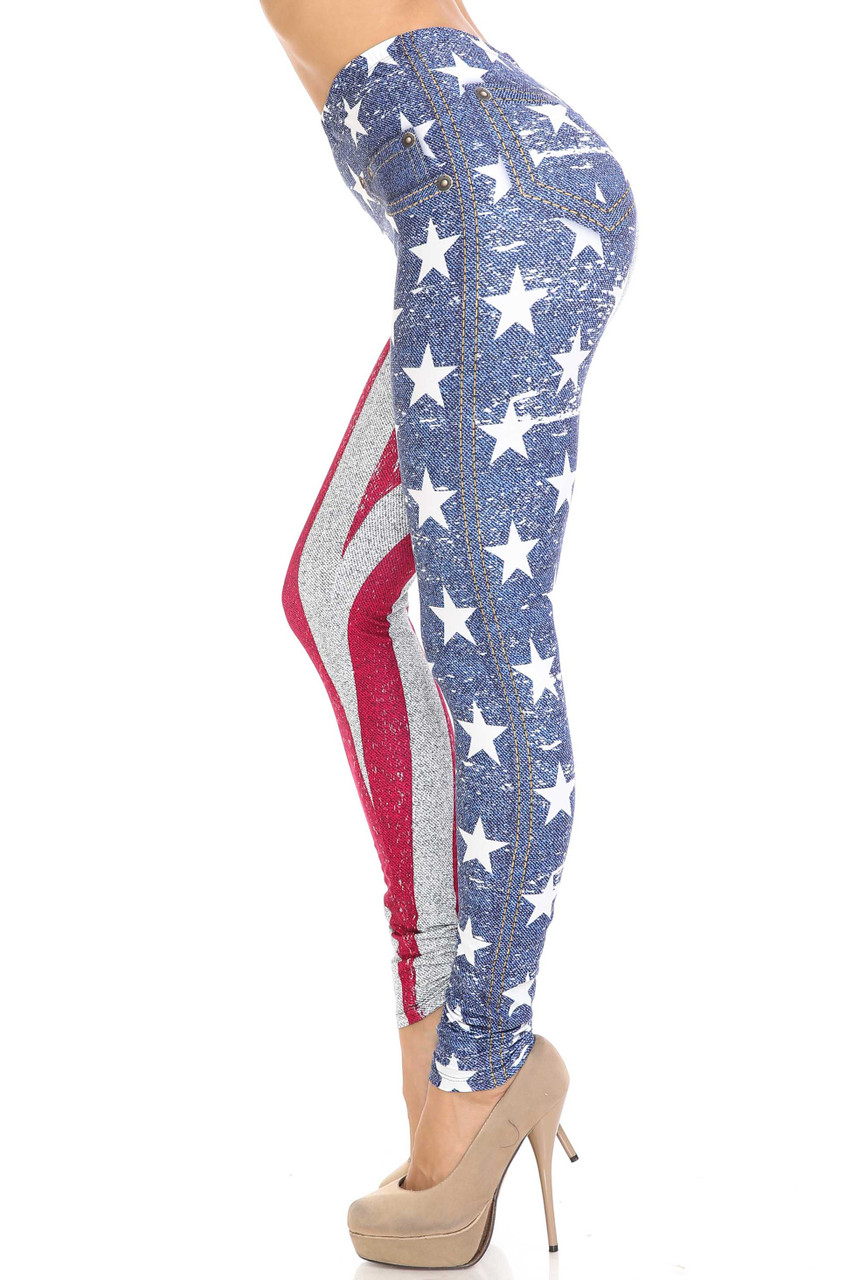 Left side view of Creamy Soft USA Flag Denim Jeans Plus Size Leggings - USA Fashion™ with a white on blue stars design.