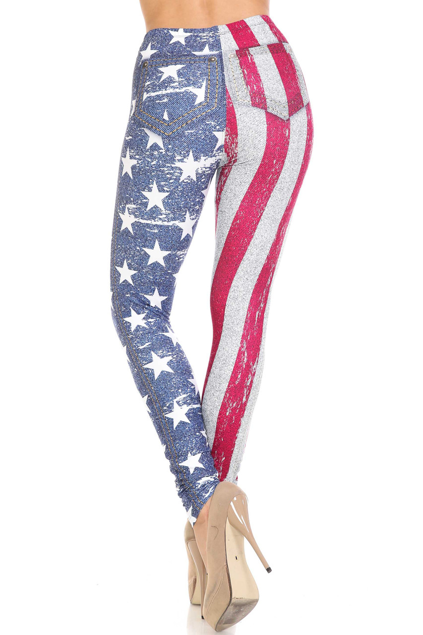 Rear view of Creamy Soft USA Flag Denim Jeans Plus Size Leggings - USA Fashion™ showing off the body flattering fit.