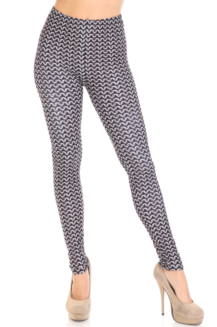 Front view of Creamy Soft Chainmail Plus Size Leggings - USA Fashion™ with an elasticized mid rise waist.