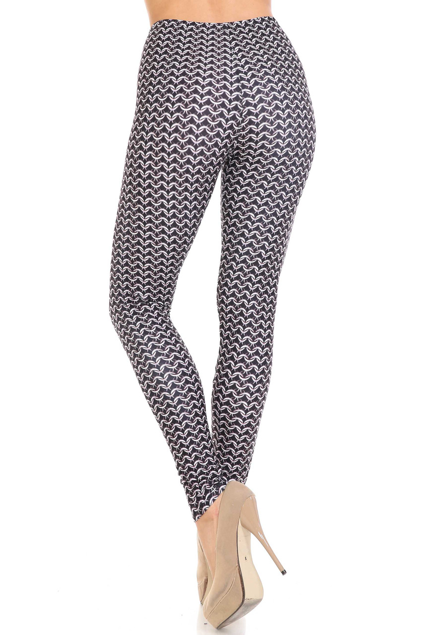 Rear view of figure flattering Creamy Soft Chainmail Plus Size Leggings - USA Fashion™