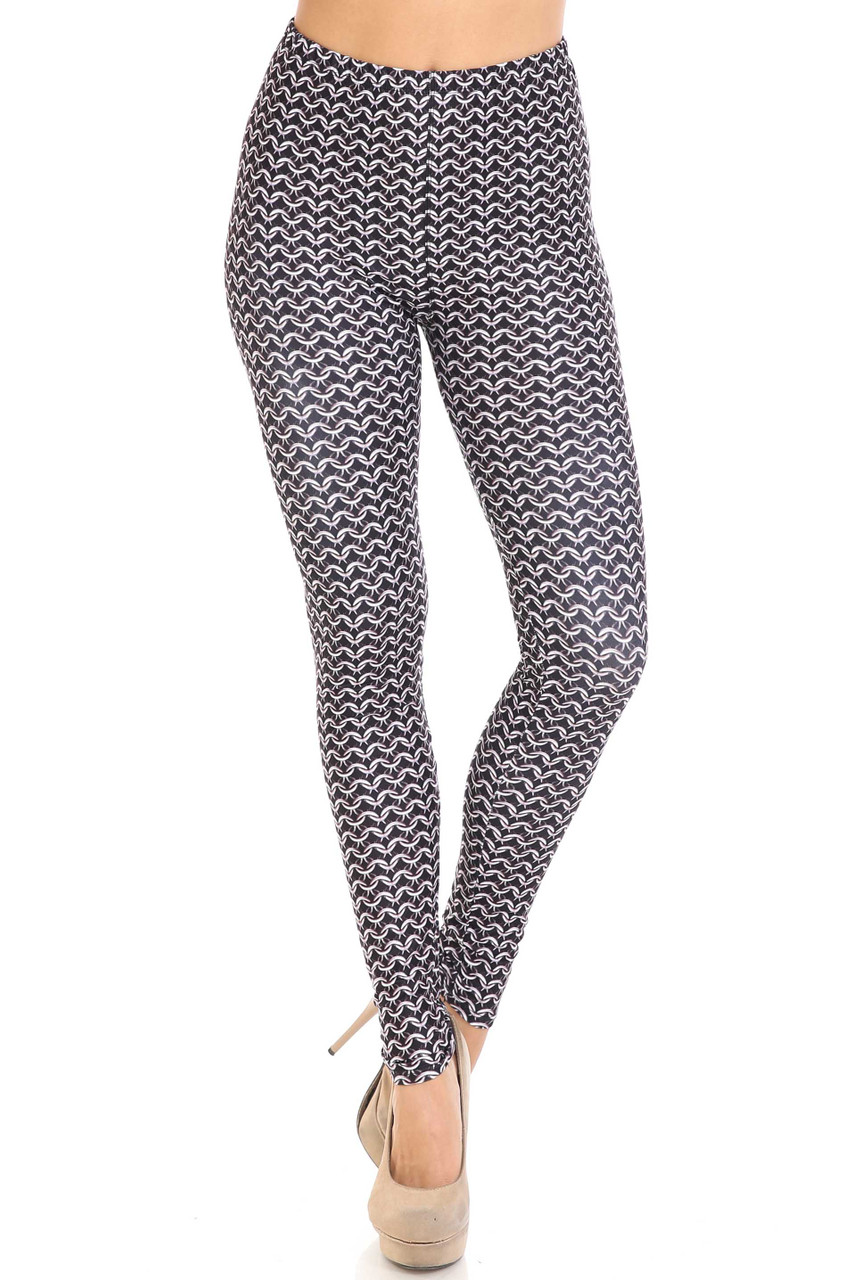 Front view of Creamy Soft Chainmail Plus Size Leggings - USA Fashion™