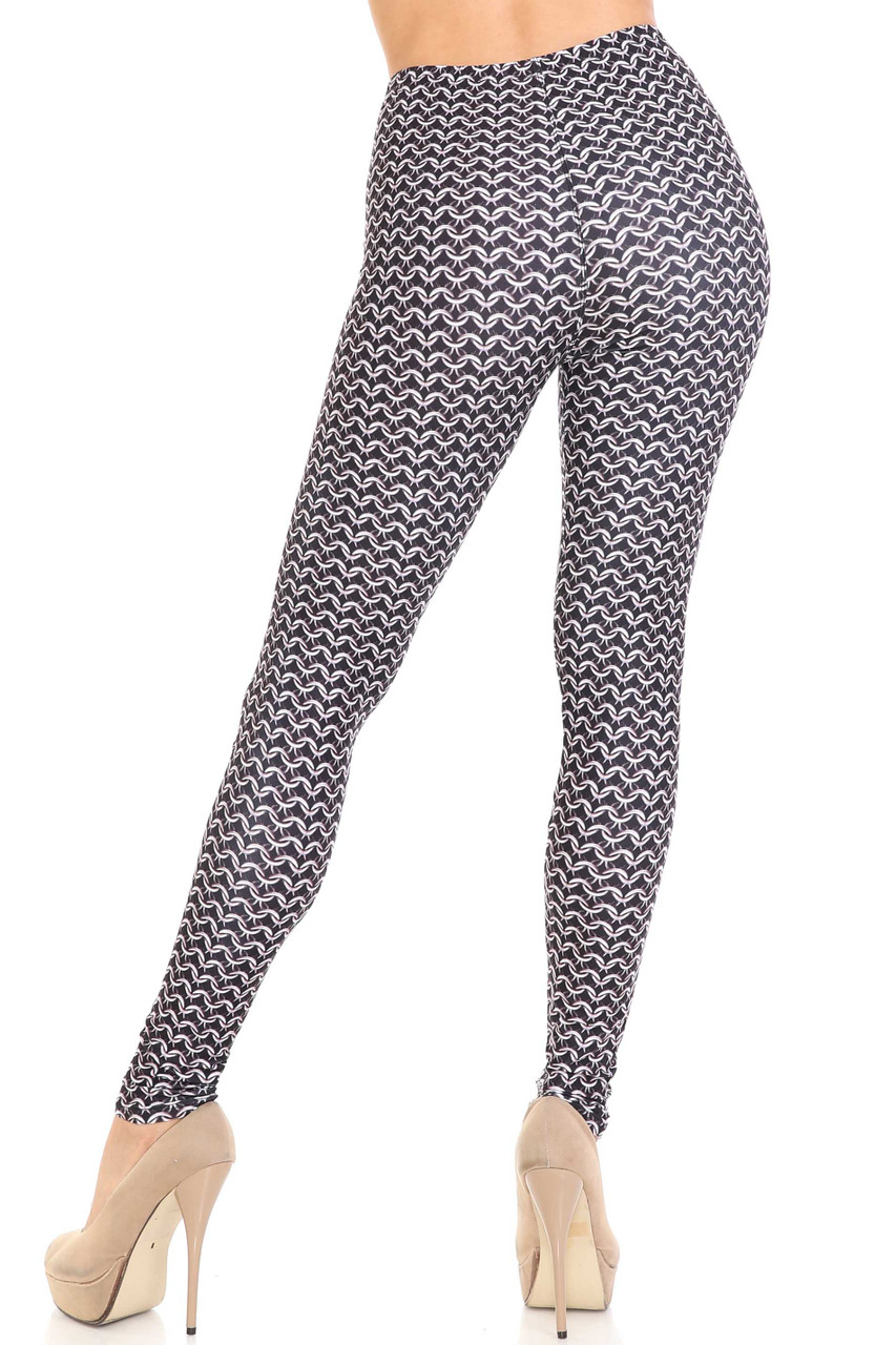 Rear view image of Creamy Soft Chainmail Extra Plus Size Leggings - 3X-5X - USA Fashion™ showing off a fabulous figure hugging fit.