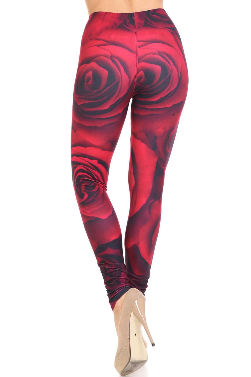 Back view of Creamy Soft Jumbo Red Rose Leggings - USA Fashion™